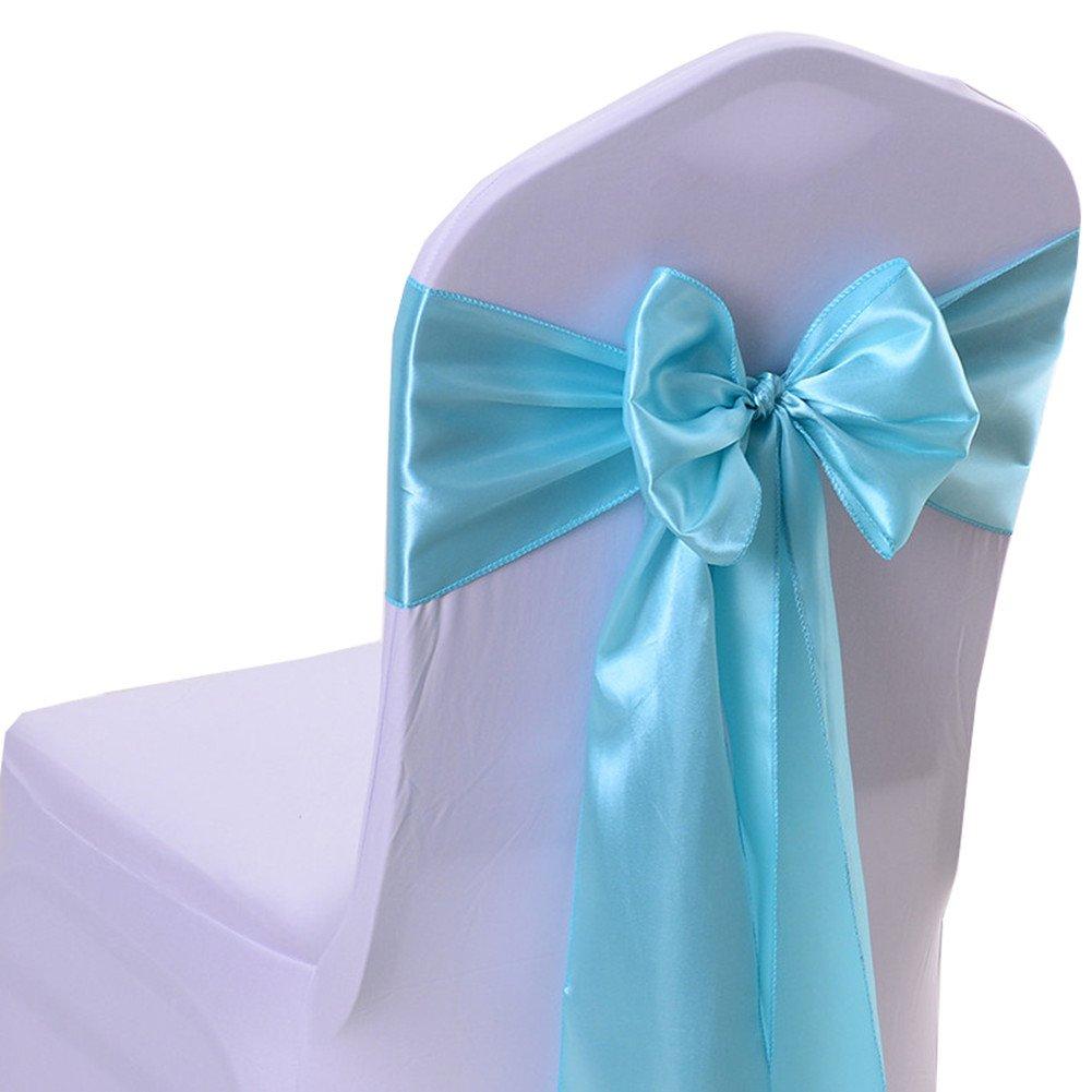 (10, Aqua) - iEventStar Satin Sash Chair Bow Cover Wedding Banquet Party Decoration (10, Aqua) 10 アクア B073B6LJ6Z