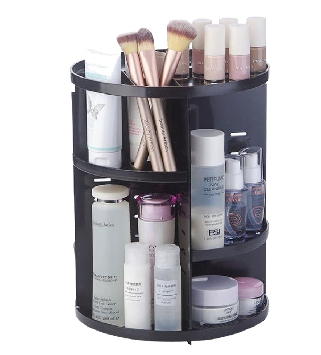 Zimaes Shelving Unit Storage Solid Casters Folding Modular Storage Rack Black 2 shelves