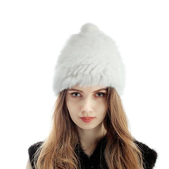 Vemolla Piel de conejo de Real Rex de invierno de las señoras caliente Kintted Hat Cap Blanco: Amazon.es: Ropa y accesorios
