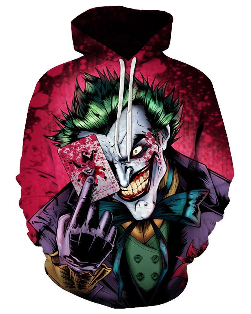 Joker Poker 3D Hoodies Sweatshirt Pullover Tracksuits Novelty Streetwear