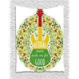 Rasta Tapestry by Ambesonne, Reggae Music Makes Me Feel Good Quote Jamaican Island Culture Iconic Guitar, Wall Hanging for Bedroom Living Room Dorm, 40 W X 60 L Inches, Green Yellow and Red