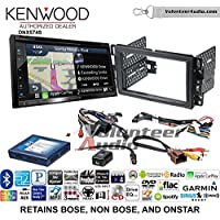 Volunteer Audio Kenwood DNX574S Double Din Radio Install Kit with GPS Navigation Apple CarPlay Android Auto Fits 2007-2013 Silverado, Avalanche (Onstar and Bose)