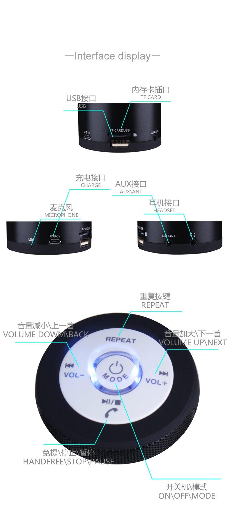 Original KAIDAER Portable Wireless Bluetooth Speaker handsfree USB MicroSD AUX Mp3 Player FM Radio(Blue)