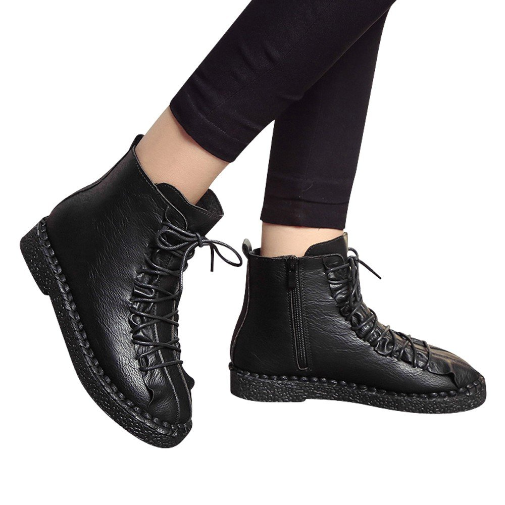 Boots For Womens -Clearance Sale ,Farjing Fashion Women British Martin Boots Vintage platform Boots Student Flat Boots (US:7,Black)