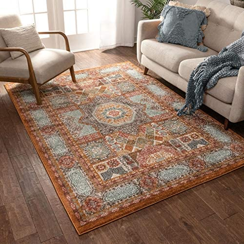 Well Woven Fabri Medallion Multi Modern Distressed Traditional Vintage Orienital 8×11 7'10″ x 9'10″ Area Rug