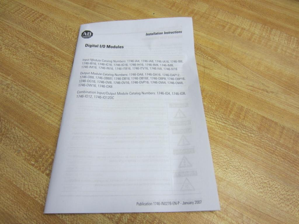 Allen Bradley 1746-0W16 Module 1746-OW16 Series D With Instructions