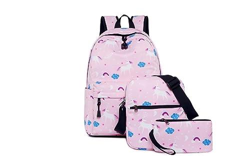 Miweel Conjunto de 3 Mochilas Escolares Mochila Niños Niñas Adolescentes Mochila Escolar + Bolsa De Hombro
