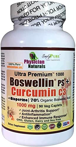 Advanced Boswellin PS Curcumin C3 1000 mg with Bioperine 90 caplets Powerful Anti-Inflammation Arthritis Joint and Colon Support