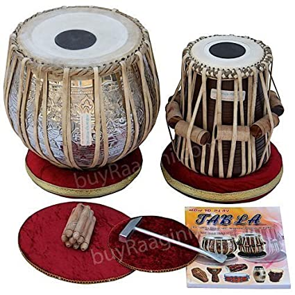 Maharaja Musicals Tabla Drum Set, 4.5 Kg Copper Bayan - Ganesha Kalash Design, Sheesham