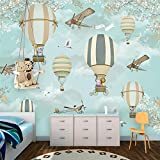 Mznm Custom Wallpaper Children'S Room Cartoon Hot Air Balloon Wall Custom Large Mural Green Wallpaper Mural-120X100Cm