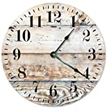 Cheap LIGHT BROWN WOOD CLOCK Large 10.5″ Wall Clock Decorative Round Novelty Clock PRINTED WOOD IMAGE Cabin, Rustic Decor