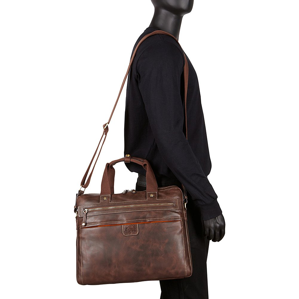 Single Compartment Briefcase for Laptop and Tablet Brown by Mancini Leather