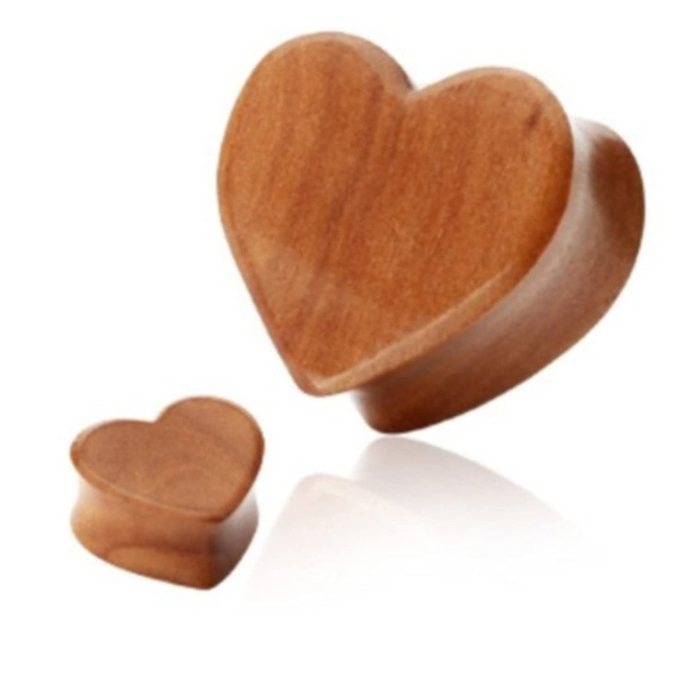 2 Pair 5//8 16MM Cherry Wood Heart Ear Plugs Double Flare Organics