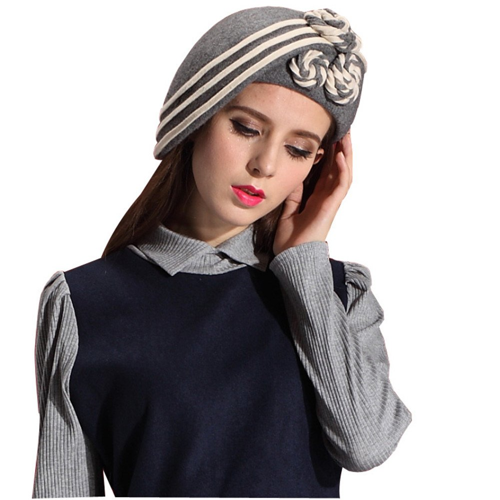June 's Young Ladies冬帽子100 %ウールベレー帽フェルトハット&キャップフローラル(グレー/オフホワイト) B00RF646WU