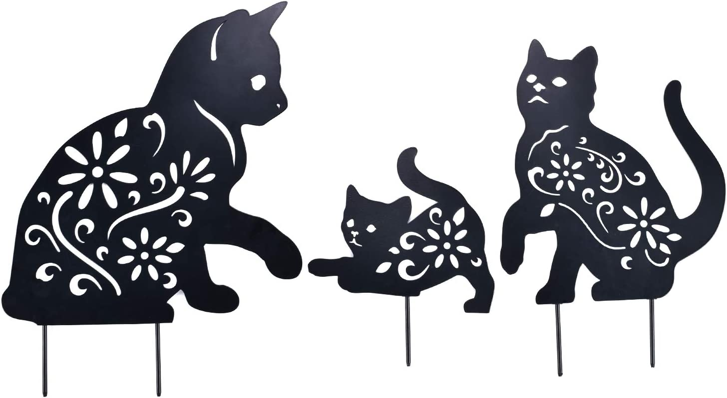 YEAHOME Cat Garden Metal Stakes - Black Cat Silhouette Stake for Yards, Gardens - Set of 3 Metal Animal Lawn Decorations, Cat Toys Gifts for cat Lovers