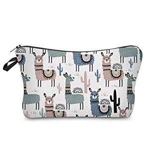 Cosmetic Bag for Women,Loomiloo Adorable Roomy Makeup Bags Travel Waterproof Toiletry Bag Accessories Organizer Liama Gifts (Cactus Liama 51444)