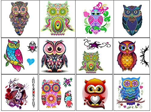 Owl Collection (Colourful Owl Temporary Tattoos …) by KazCreations