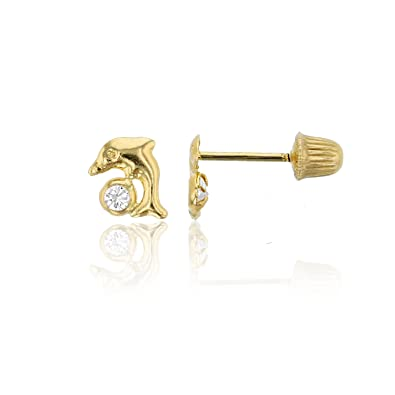 5c9de46e6 Image Unavailable. Image not available for. Color: Decadence Women's 14k  Yellow Gold High Polished Mini Baby Dolphin Hat Screw Back Stud Earrings
