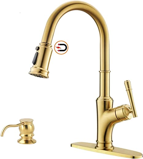 Avola Gold High Arch Kitchen Tap,Modern Brushed Gold Pull Down Commercial Solid Brass Kitchen Tap,Single Lever Pull Out Sprayer Kitchen Tap
