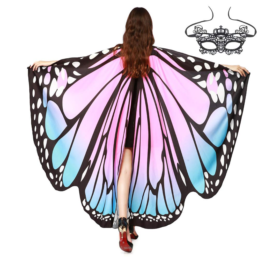 1KTon Butterfly Wings Costume Cape With Mask Adult Women Halloween Halloween Costume Accessory with Black Velvet Antenna Headband by 1KTon