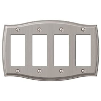 4 Quad Rocker Gfci Decora Wall Plate Cover Brushed Nickel