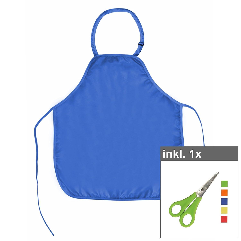 Werkenschürze für Kinder 45 x 52 cm blau inkl. Schere, Material: Polyester, Malschürze, Bastelschürze, Kinderschürze, Schulschürze, Bastelschere Malschürze Bastelschürze Kinderschürze Schulschürze