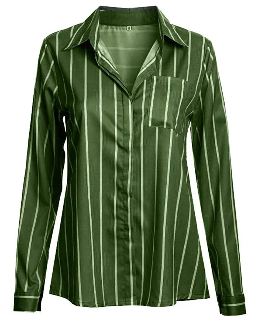 Cromoncent Mens Striped Long-Sleeve Button Down Top Shirt