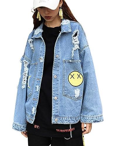 Mujer Casual Manga Larga Chaquetas De Mezclilla Abrigo Slim Fit Denim Jacket Del Agujero Cazadora Va...