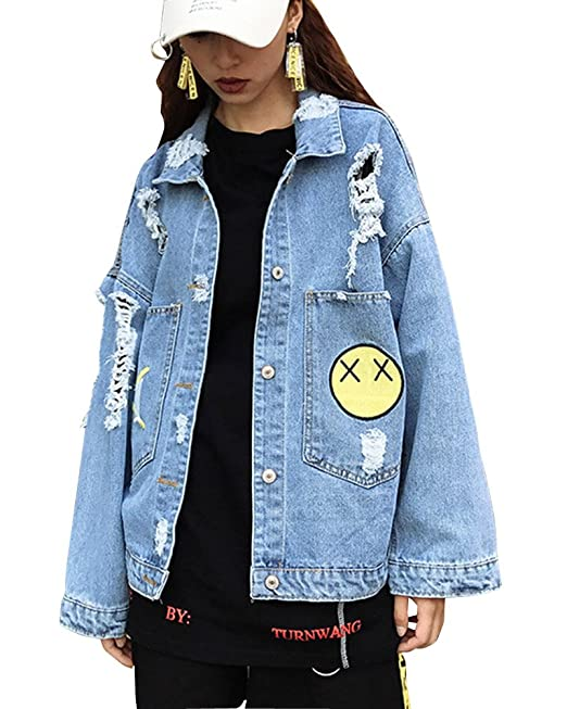 online store f0e1d f22a7 Donna Casuale Sciolto Giacchetto Manica Lunga Cappotto Jeans ...