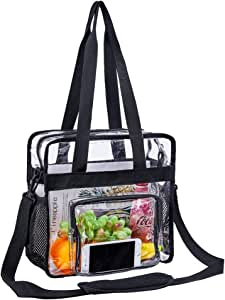 "Heavy Duty Clear Tote Bag,NFL & PGA Stadium Approved Clear Bag with Adjustable Shoulder Strap and Multi-Pocket,Clear Crossbody Bag for Work, School, Sports Games and Concerts-12"" x12"" x 6"""