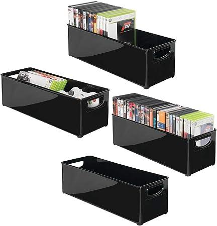 mDesign Juego de 4 Caja de almacenaje apilable para guardar DVDs – Sistema de almacenaje con asas para DVDs, CDs y videojuegos – Caja para DVD de plástico – negro: Amazon.es: Hogar