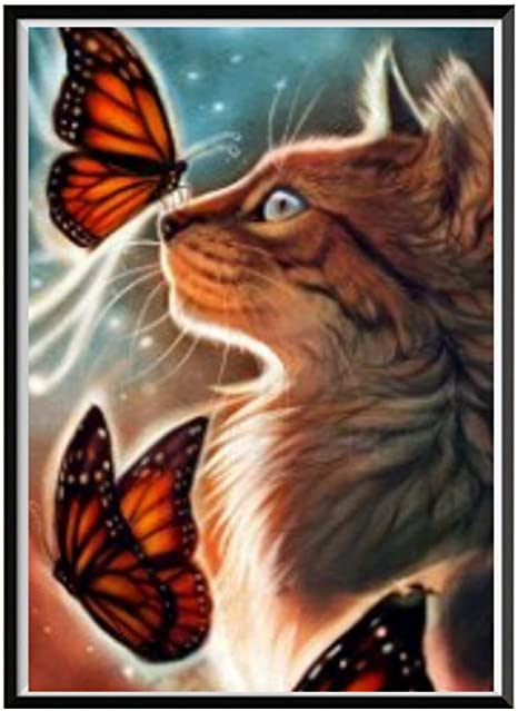 Hot DIY 5D Diamond Embroidery Cool Cat Painting CrossStitch Home Decor Art Craft