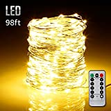 98ft 300LEDs Fairy String Lights Dimmable with Remote Control, Waterproof Copper Wire Firefly