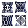ALPHA HOME Cotton Embroidered Throw Pillow Case Cushion Cover, 18x18 Inch, Set of 4