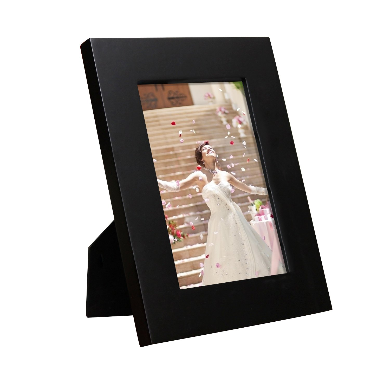Wall Hanging or Table Top Desktop Display Made to Display 4x6 Photo PF0403 Adeco 8x6 Black Wood Decroative Wide Picture Frame