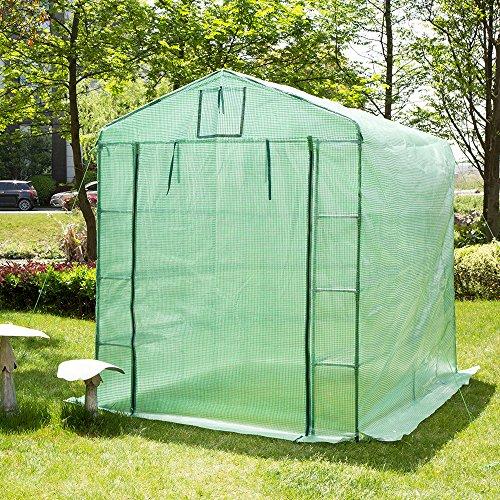 Glitzhome Garden Backyard 3 Shelf Walk-In Zipper Greenhouse