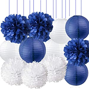 Navy Blue Party Decorations Kit-Navy Blue White Tissue Pom Pom Paper Lanterns for Graduation, Anniversary, Wedding, Bridal Shower, Baby Shower, Birthday Nautical Party Supplies