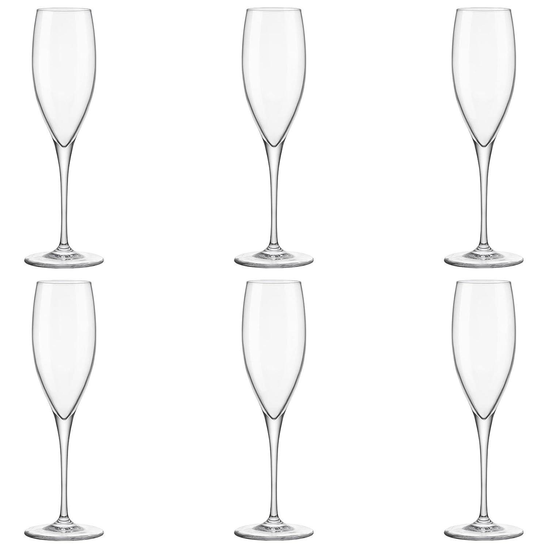 Bormioli Rocco Premium 260ml Glass Champagne Flutes - Pack of 6