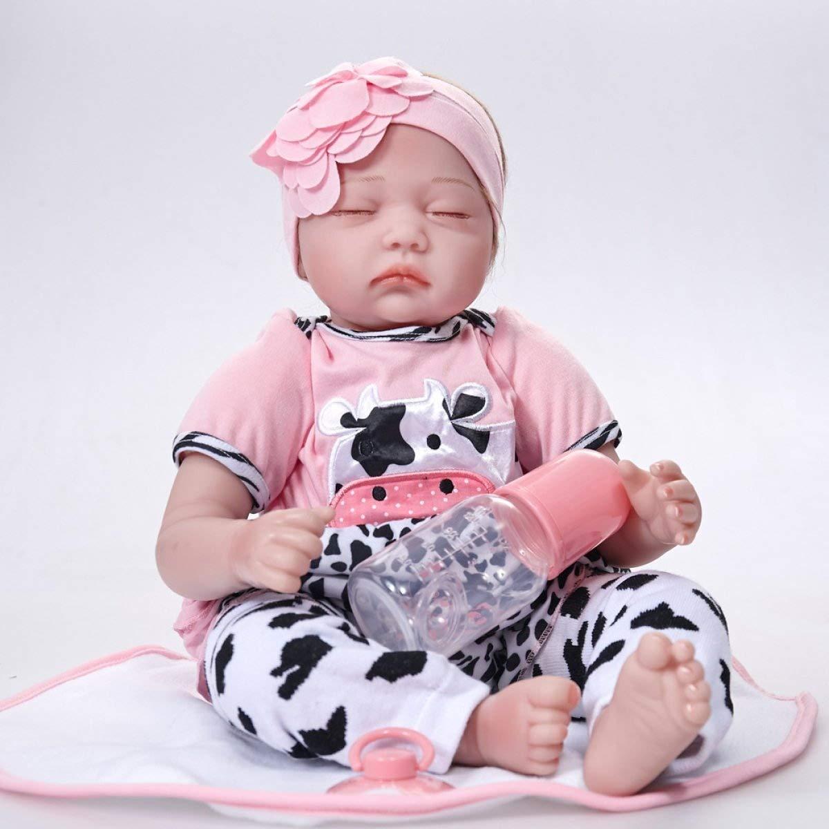 YIHANG Reborn Baby Puppen Handgemachte Lebensechte Realistische Silikon Vinyl Baby Puppe Weiche Simulation 22 Zoll 55 Cm Augen Geschlossen Mädchen Lieblings Geschenk