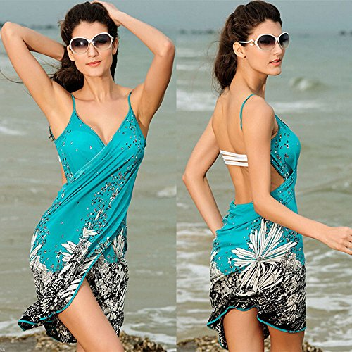 Da Bagno Vestito Pareo Cielo Costumi Costume Avvolgere Spiaggia Coprire Estate Blu Da Bikini Bagno Bianco Donne Sarong HAq8zBw