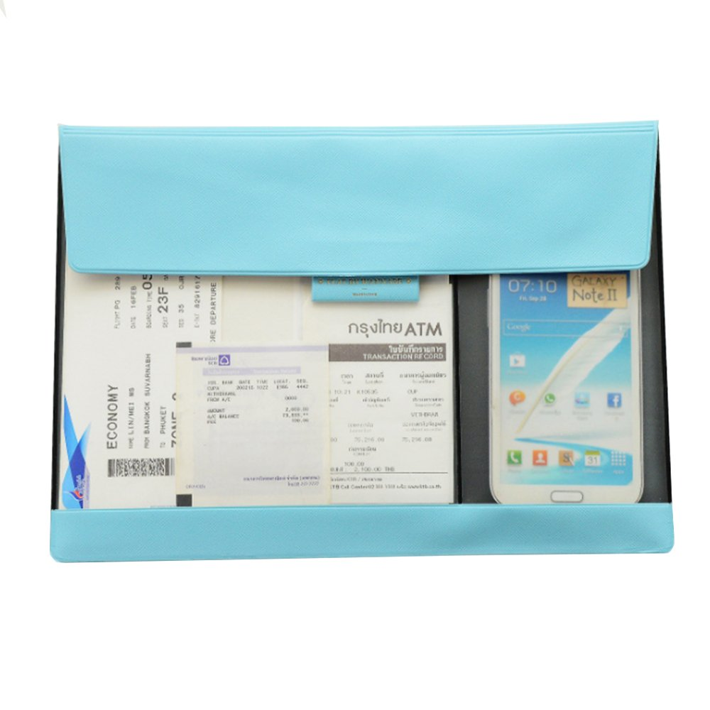 ANTIMAX A4 Bag Paperwork Organizer Stylish PU Leather Document Organizer Phone Screen Touchable for Office School Supply,Velcro Closure,12.8 x 9.2 inches,Sky Blue