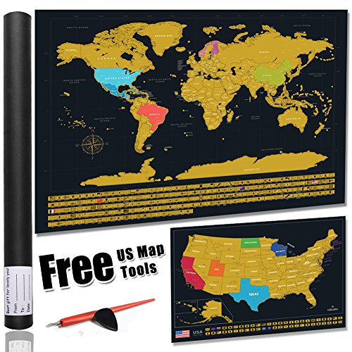 europe america map scratch off gold map scrape-off earth wall poster journal log stylish memory keeper for traveller