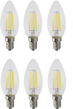 JCKing Pack of 6 AC 110V-130V 6W E14 Dimmable LED Filament Bulbs Candle tip LED Light Bulb, LED Vintage Antique Chandelier Light Warm White 2700K