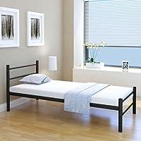 Festnight Einzelbett Bettgestell Gästebett Metallbett Bett aus Metall ohne Matratze 90x200 cm Schwarz