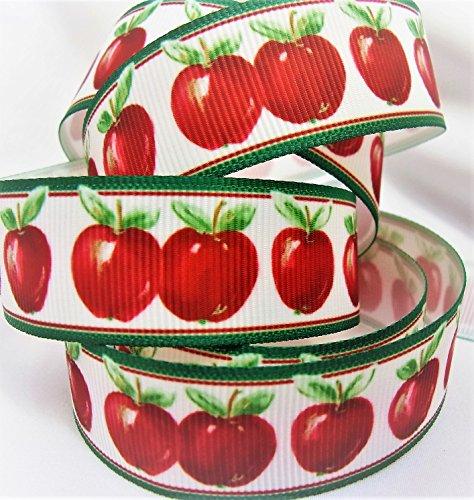 Grosgrain Ribbon Red Apple Print - 7/8