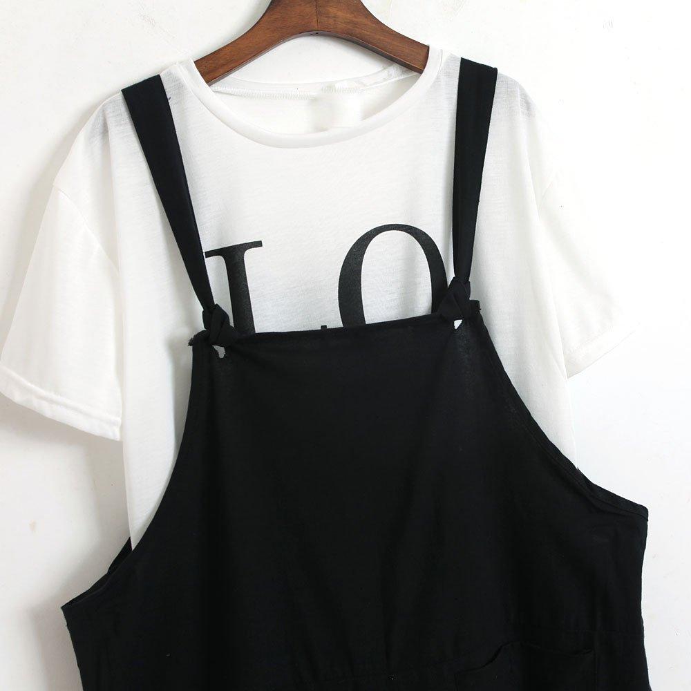 ZEFOTIM Womens Loose Jumpsuit Strap Belt Bib Pants Trousers Casual Overall Pants (XL,Black) by ZEFOTIM (Image #4)