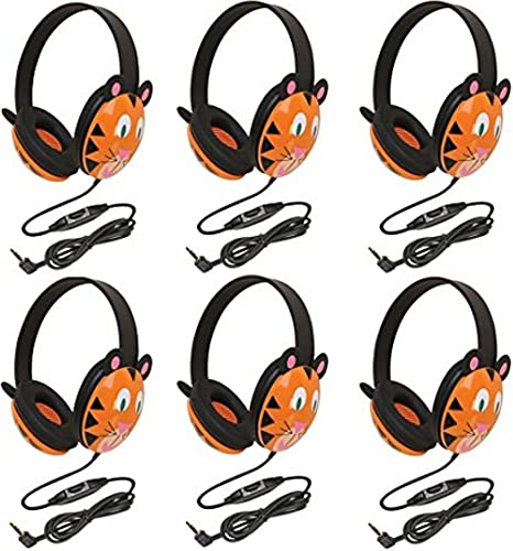 Califone 2810-TI Tiger Motif Listening First Stereo Headphone Pack of 6 , Adjustable headband comfortable for extended wear, Specifically sized for young children