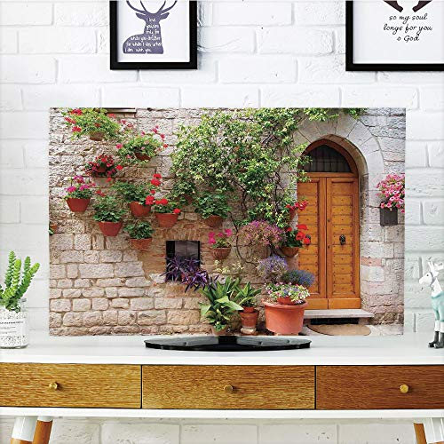 Cheap  LCD TV Cover Multi Style,Tuscan,Begonia Blossoms in Box Window Wooden Shutters Brick..