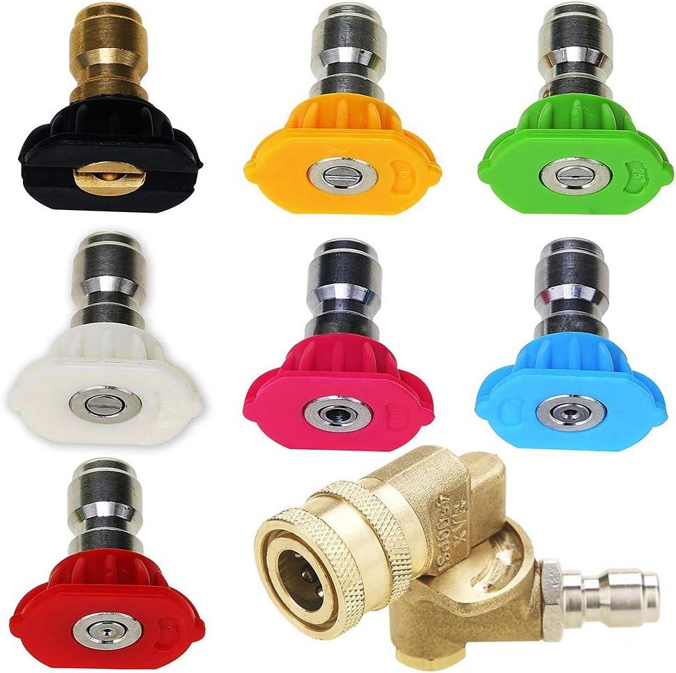 7 boquillas de pulverización de liberación rápida con acoplador pivotante de conexión rápida, 4500 PSI 1/4