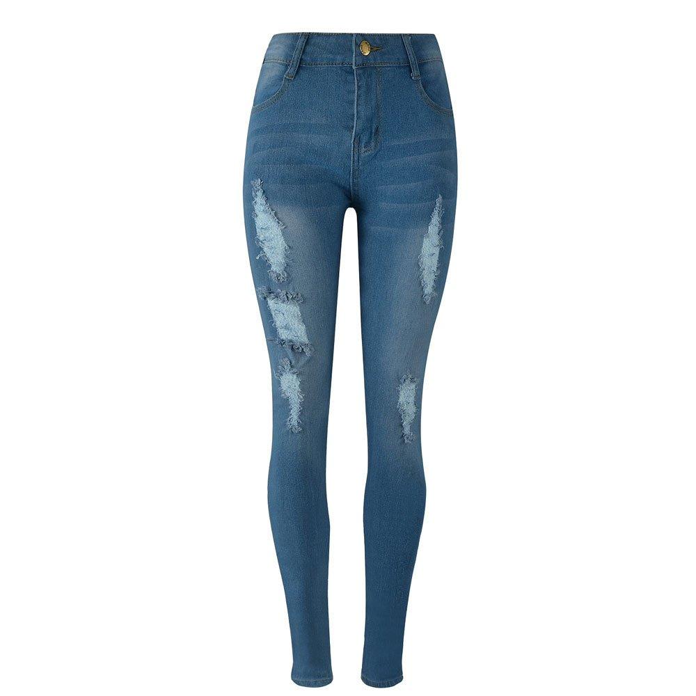 iLUGU Women Denim Skinny Ripped Pants High Waist Jeans boys jeans Slim Pencil Trousers